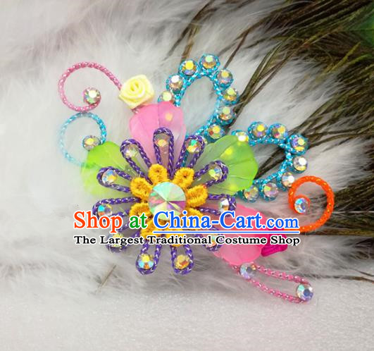 Chinese Traditional Beijing Opera Actress Hair Accessories Peking Opera Princess Colorful Flowers Hairpins for Adults