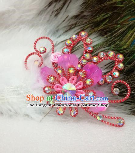 Chinese Traditional Beijing Opera Actress Hair Accessories Peking Opera Princess Rosy Flowers Hairpins for Adults