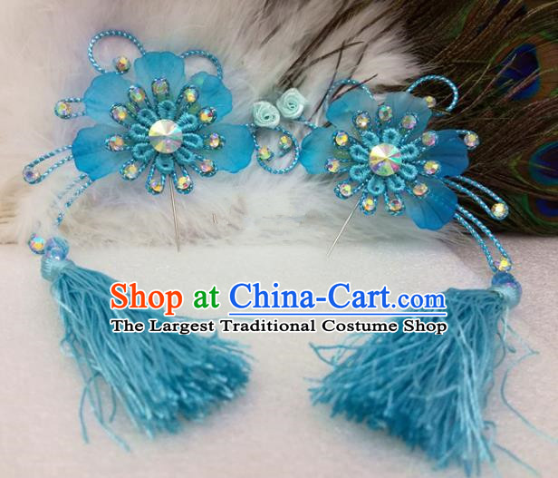Chinese Traditional Beijing Opera Actress Blue Tassel Flower Hair Clips Hair Accessories Ancient Hairpins for Adults