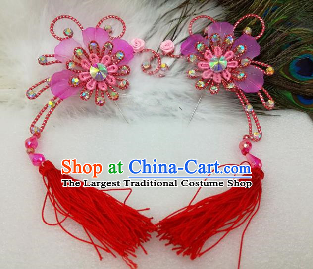 Chinese Traditional Beijing Opera Actress Red Tassel Flower Hair Clips Hair Accessories Ancient Hairpins for Adults