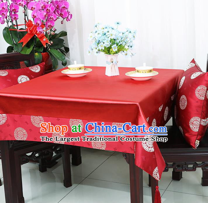 Chinese Traditional Fu Character Pattern Red Brocade Table Cloth Classical Satin Household Ornament Desk Cover
