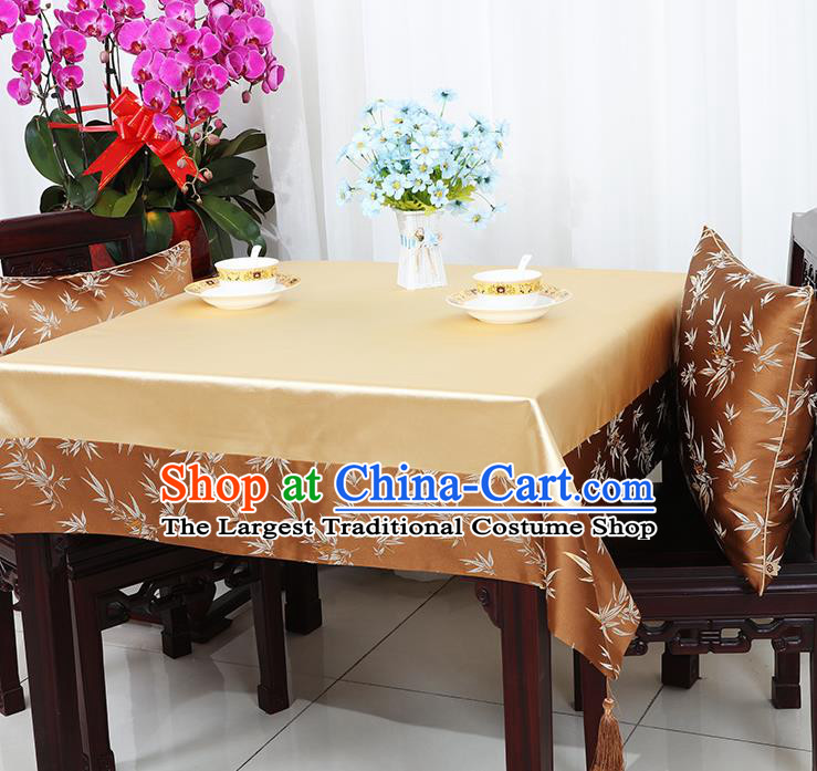 Chinese Traditional Bamboo Pattern Brown Brocade Table Cloth Classical Satin Household Ornament Desk Cover