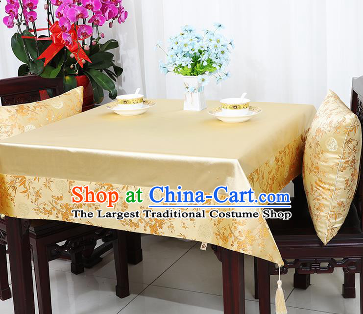 Chinese Traditional Plum Blossom Bamboo Pattern Golden Brocade Table Cloth Classical Satin Household Ornament Desk Cover