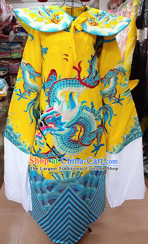 Chinese Traditional Beijing Opera Minister Costume Peking Opera Old Gentleman Yellow Embroidered Robe for Adults