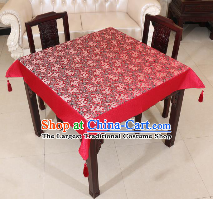 Chinese Traditional Dragons Pattern Red Brocade Desk Cloth Classical Satin Household Ornament Table Cover