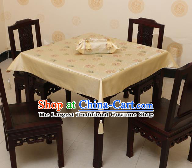 Chinese Traditional Orchid Bamboo Chrysanthemum Pattern Golden Brocade Desk Cloth Classical Satin Household Ornament Table Cover