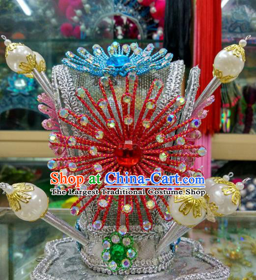 Chinese Traditional Beijing Opera Headwear Peking Opera Niche Red Beads Hairdo Crown for Adults