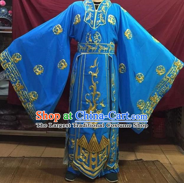 Chinese Traditional Beijing Opera Emperor Costume Peking Opera King Blue Embroidered Robe for Adults