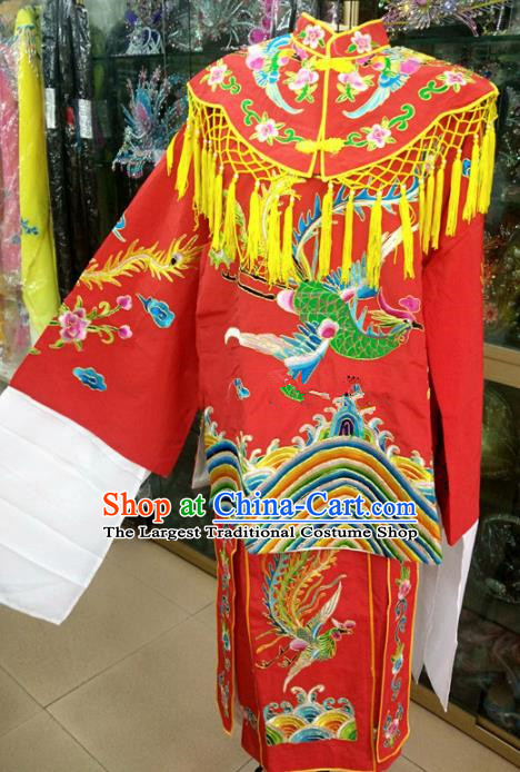 Chinese Traditional Beijing Opera Queen Red Dress Peking Opera Actress Wedding Costume for Adults