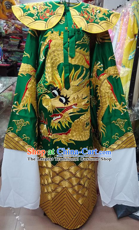 Chinese Traditional Beijing Opera Prime Minister Costume Peking Opera Chancellor Green Embroidered Robe for Adults