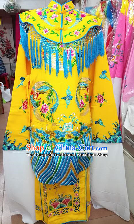 Chinese Traditional Beijing Opera Empress Yellow Embroidered Dress Peking Opera Actress Costume for Adults