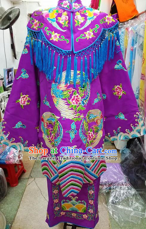 Chinese Traditional Beijing Opera Empress Purple Embroidered Dress Peking Opera Actress Costume for Adults