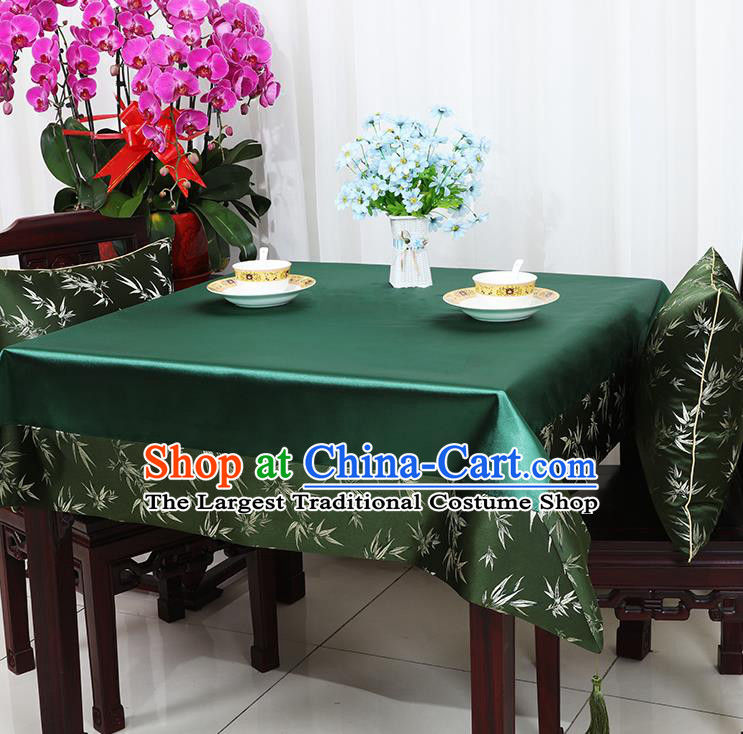 Chinese Traditional Bamboo Pattern Green Brocade Table Cloth Classical Satin Household Ornament Desk Cover