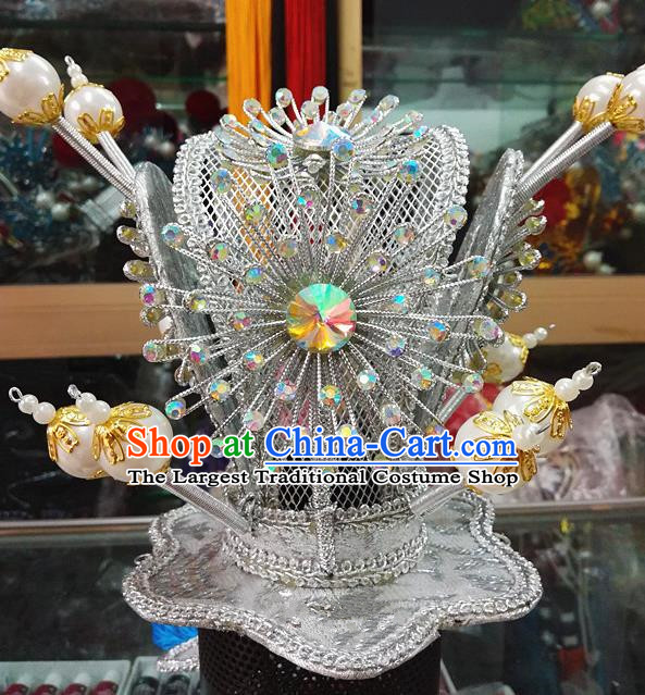 Chinese Traditional Beijing Opera Niche Headwear Peking Opera Prince Argent Hairdo Crown for Adults