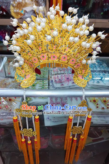 Chinese Traditional Beijing Opera Wedding Golden Phoenix Coronet Queen Hair Accessories for Adults