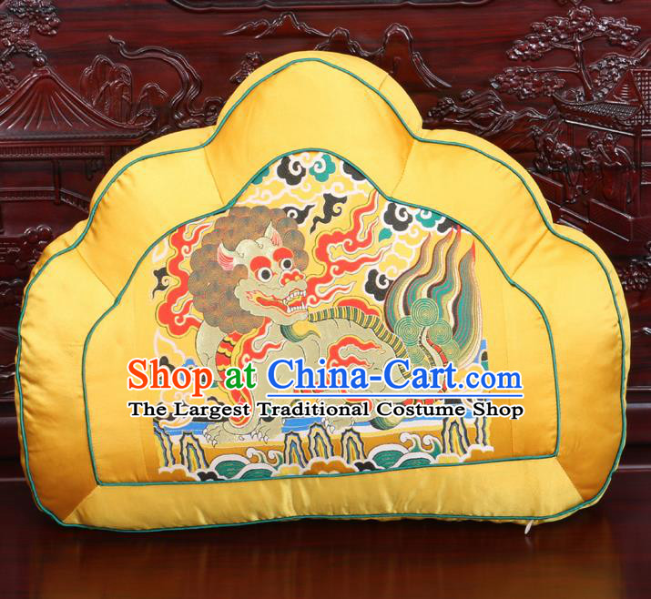 Chinese Traditional Embroidered Kylin Pattern Golden Brocade Back Cushion Cover Classical Household Ornament