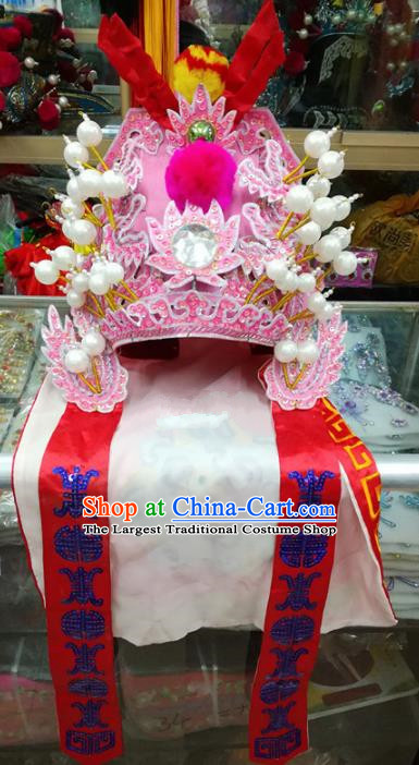 Chinese Traditional Beijing Opera Takefu Hat Peking Opera General Pink Helmet for Adults
