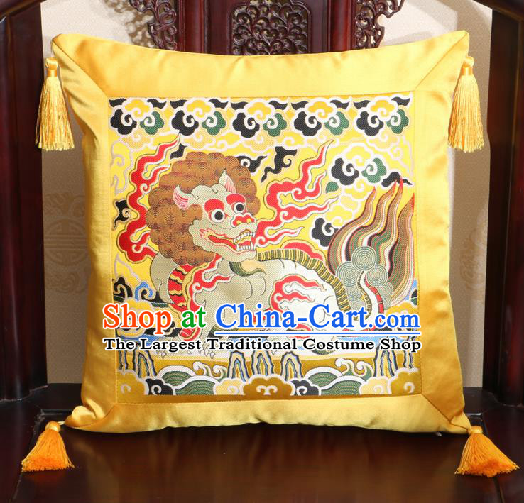 Chinese Classical Kylin Pattern Golden Brocade Square Cushion Cover Traditional Household Ornament
