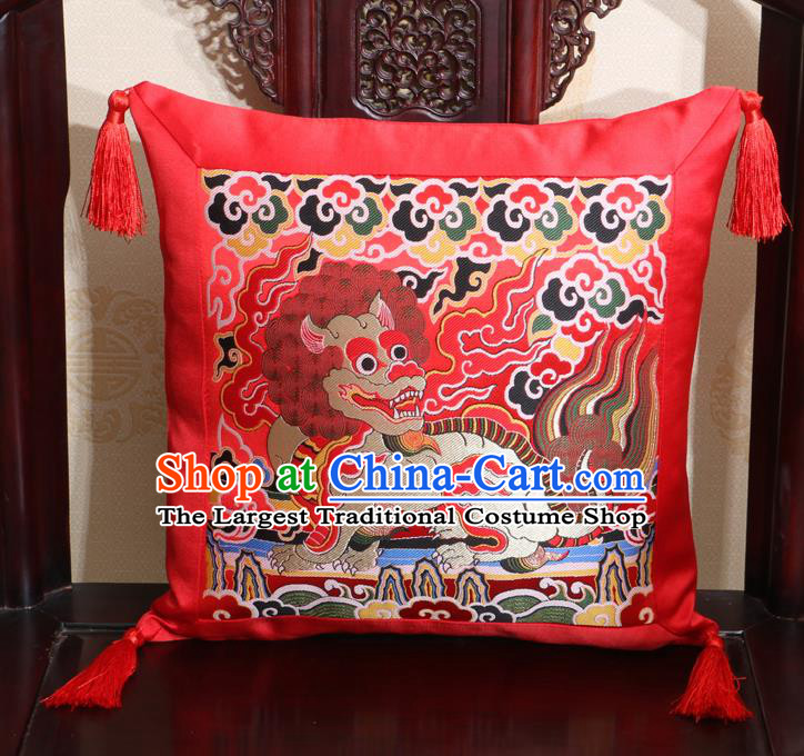 Chinese Classical Kylin Pattern Red Brocade Square Cushion Cover Traditional Household Ornament