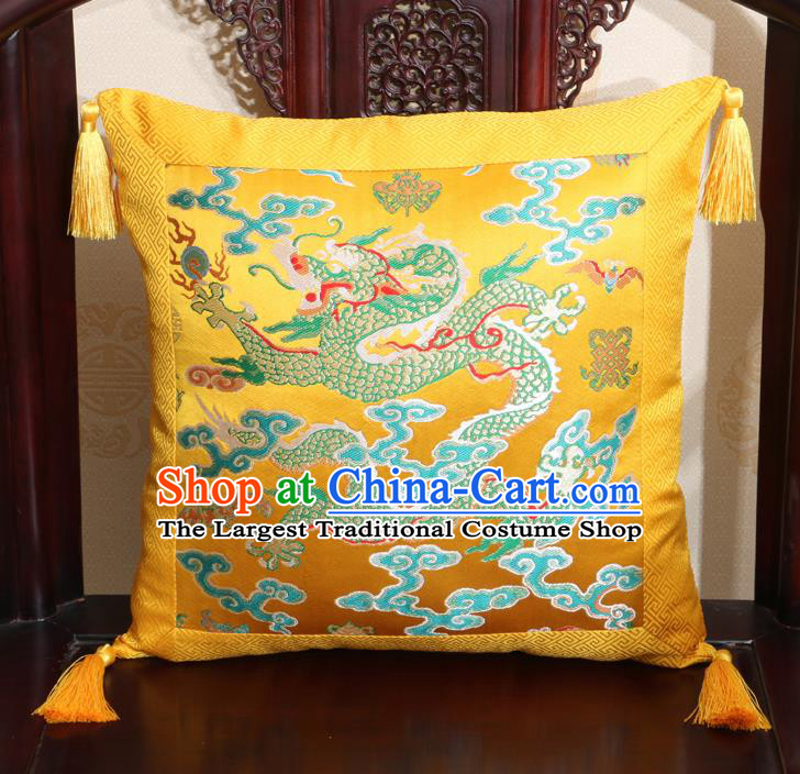 Chinese Classical Cloud Dragon Pattern Golden Brocade Square Cushion Cover Traditional Household Ornament