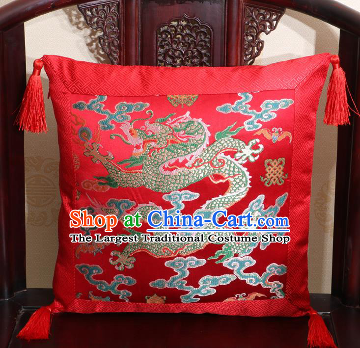 Chinese Classical Cloud Dragon Pattern Red Brocade Square Cushion Cover Traditional Household Ornament