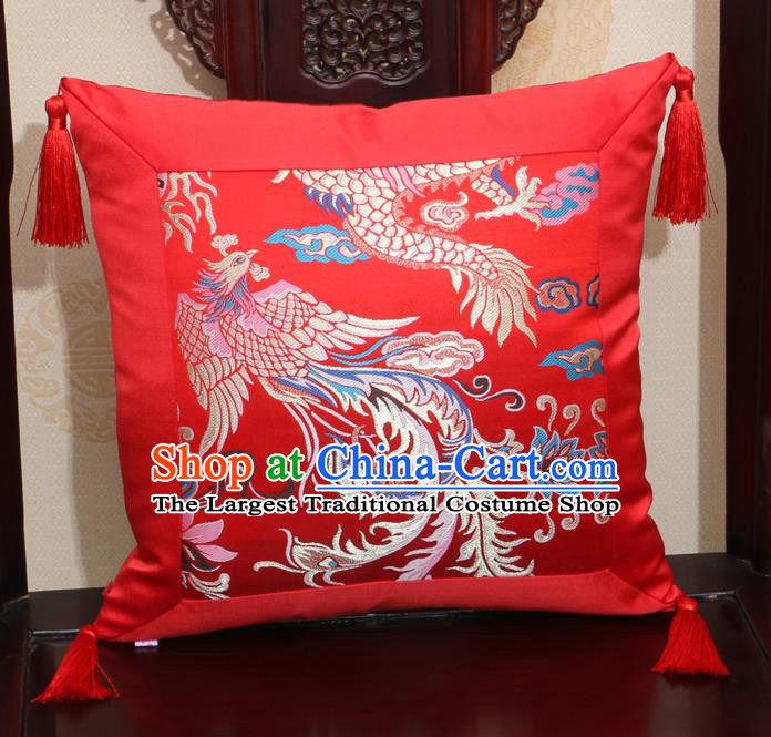 Chinese Classical Dragon Phoenix Pattern Red Brocade Square Cushion Cover Traditional Household Ornament