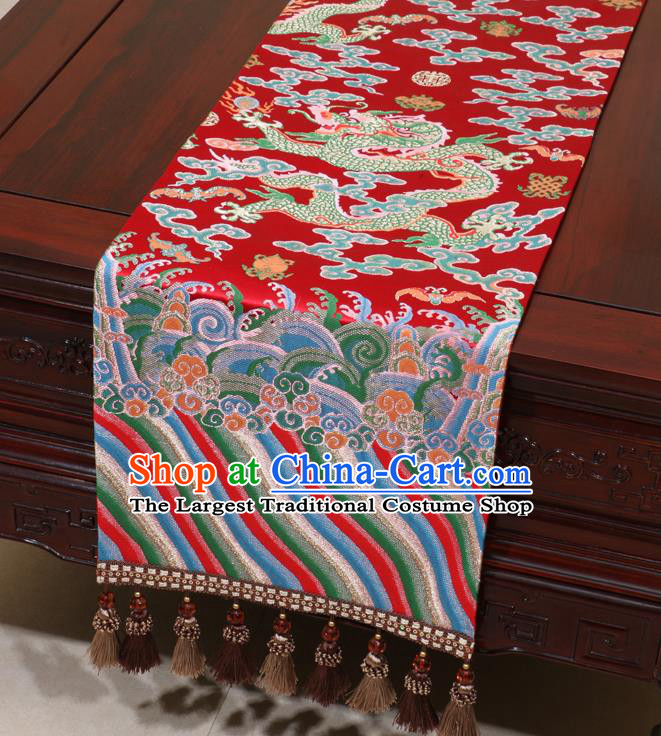 Chinese Traditional Dragon Pattern Red Brocade Table Flag Classical Satin Household Ornament Table Cover