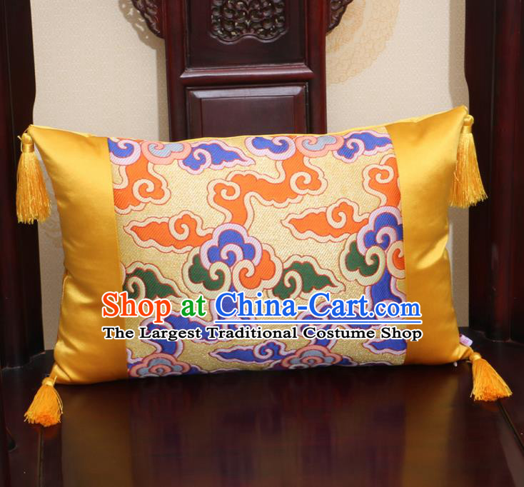Chinese Traditional Cloud Pattern Golden Brocade Back Cushion Cover Classical Household Ornament