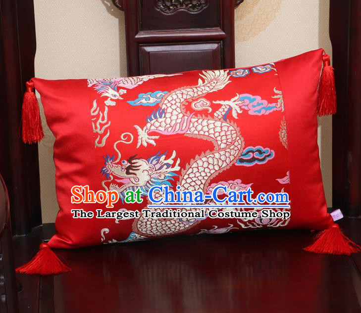 Chinese Traditional Dragon Pattern Red Brocade Back Cushion Cover Classical Household Ornament