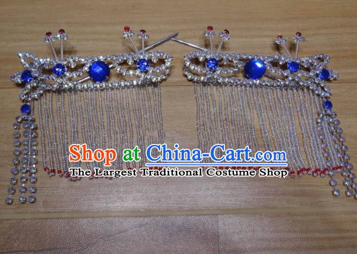 Chinese Traditional Beijing Opera Diva Sidebums Royalblue Tassel Hairpins Princess Hair Accessories for Adults