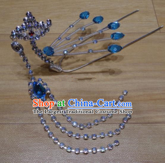 Chinese Traditional Beijing Opera Diva Blue Crystal Phoenix Tassel Hairpins Princess Hair Accessories for Adults