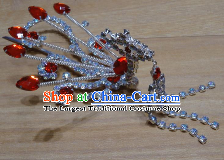 Chinese Traditional Beijing Opera Red Crystal Phoenix Tassel Hairpins Princess Hair Accessories for Adults