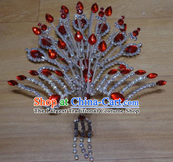 Chinese Traditional Beijing Opera Phoenix Hairpins Princess Red Crystal Hair Accessories for Adults