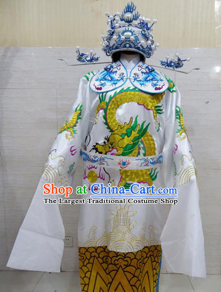 Chinese Traditional Beijing Opera Prime Minister White Embroidered Robe Peking Opera Old Men Costume for Adults