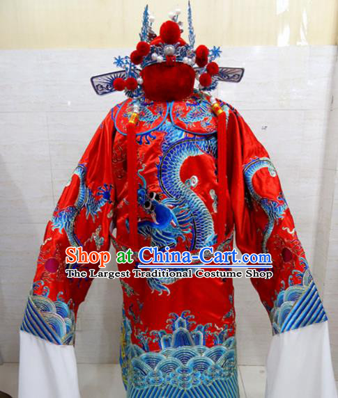 Chinese Traditional Beijing Opera Chancellor Red Embroidered Robe Peking Opera Old Men Costume for Adults