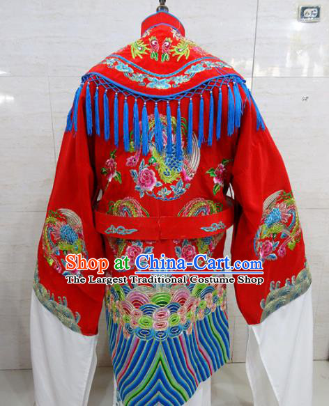 Chinese Traditional Beijing Opera Actress Red Embroidered Dress Peking Opera Imperial Concubine Costume for Adults