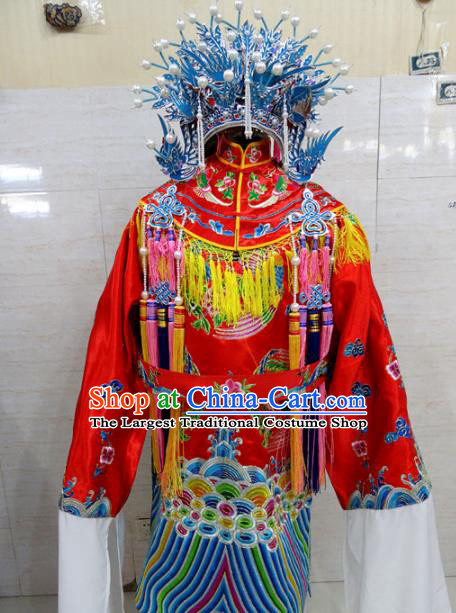 Chinese Traditional Beijing Opera Actress Red Embroidered Robe Peking Opera Imperial Concubine Costume for Adults