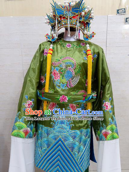 Chinese Traditional Beijing Opera Old Female Green Embroidered Peony Robe Peking Opera Costume for Adults