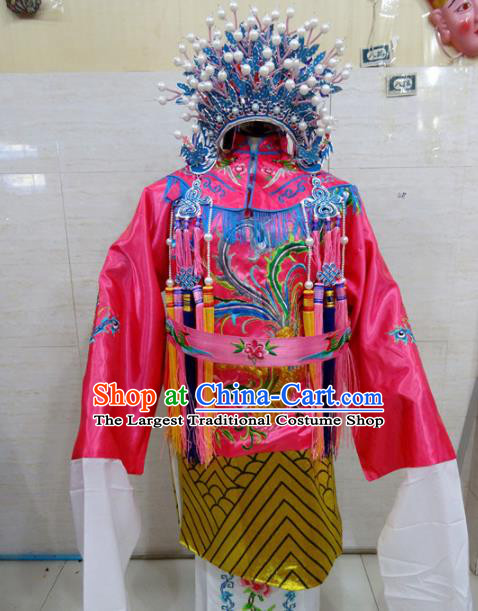 Chinese Traditional Beijing Opera Queen Pink Embroidered Phoenix Robe Peking Opera Costume for Adults
