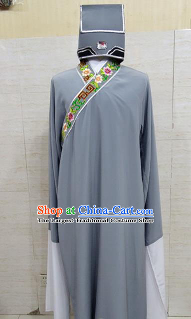 Chinese Traditional Beijing Opera Scholar Grey Robe Peking Opera Niche Costume for Adults