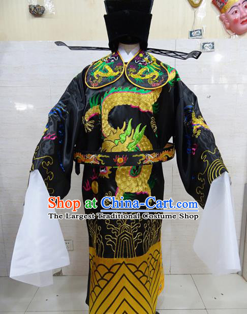 Chinese Traditional Beijing Opera Prime Minister Black Embroidered Robe Peking Opera Old Men Costume for Adults