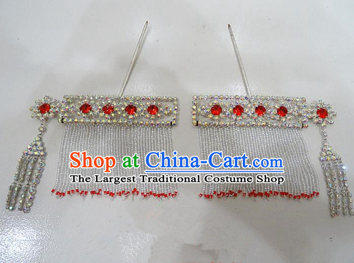 Chinese Traditional Beijing Opera Diva Sidebums Hairpins Princess Crystal Hair Clip Hair Accessories for Adults