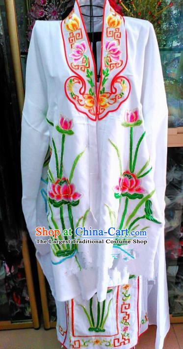Chinese Traditional Beijing Opera Avalokitesvara Embroidered Lotus Dress Peking Opera Actress Costume for Adults