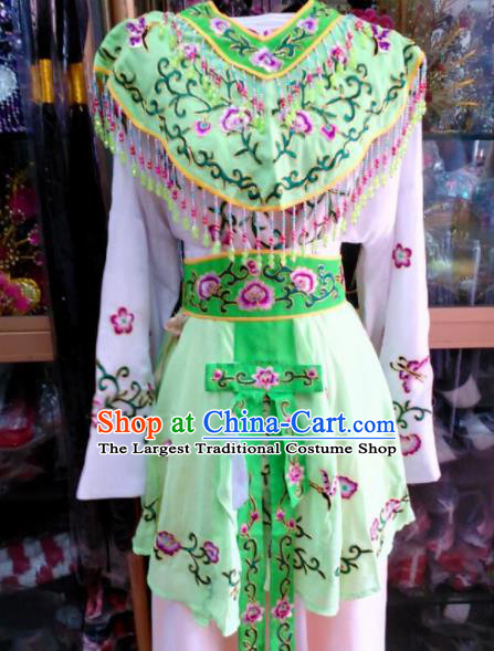Chinese Traditional Beijing Opera Peri Green Dress Peking Opera Young Lady Costume for Adults