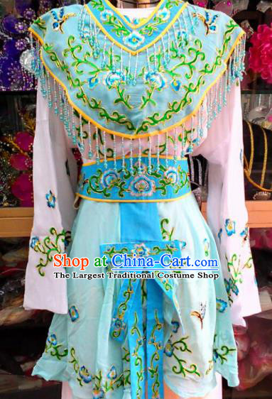 Chinese Traditional Beijing Opera Peri Blue Dress Peking Opera Young Lady Costume for Adults