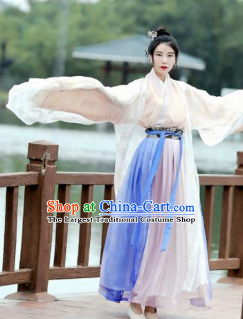 Chinese Ancient Swordswoman Hanfu Dress Jin Dynasty Young Lady Historical Costume for Women