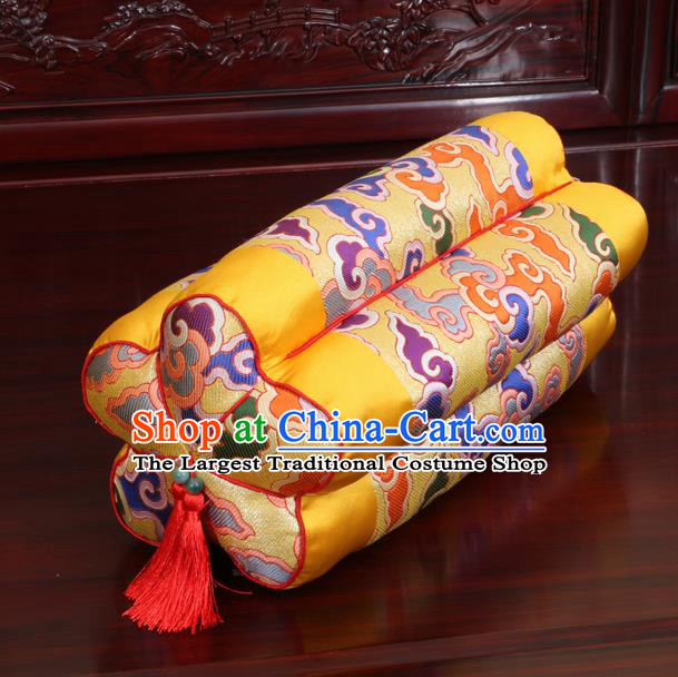 Chinese Traditional Household Accessories Classical Color Clouds Pattern Yellow Brocade Plum Blossom Pillow