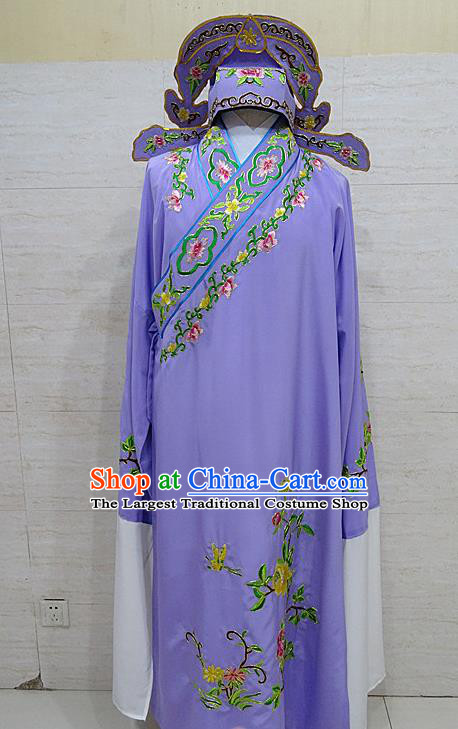 Professional Chinese Beijing Opera Niche Embroidered Peony Purple Robe Traditional Peking Opera Scholar Costume for Adults