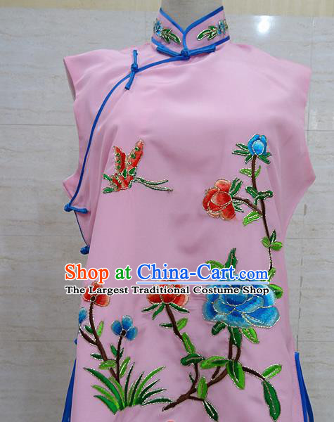 Chinese Traditional Beijing Opera Embroidered Peony Pink Waistcoat Peking Opera Maidservants Costume for Adults