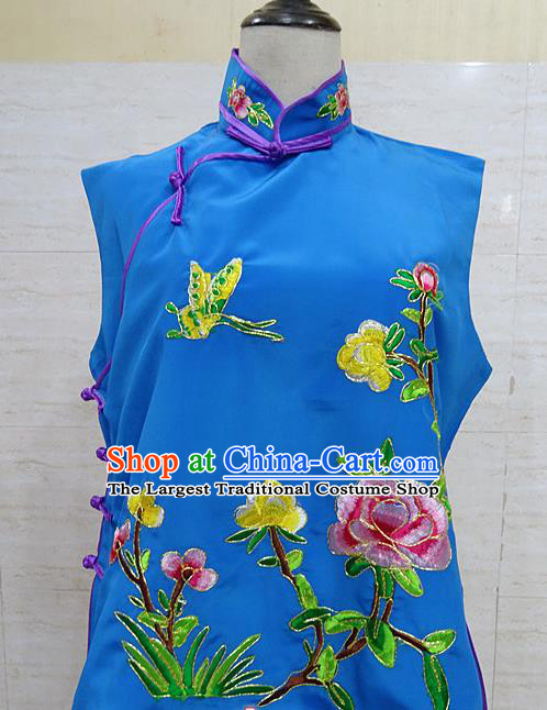 Chinese Traditional Beijing Opera Embroidered Peony Deep Blue Waistcoat Peking Opera Maidservants Costume for Adults